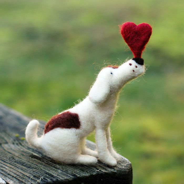 Valentine Pup - A Needle Felted Balancing Act with Heart.