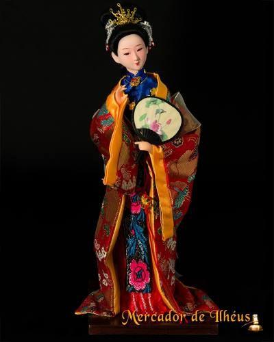Jia Yuanchun Boneca Artesanal Rosto Porcelana Dinastia Qing.