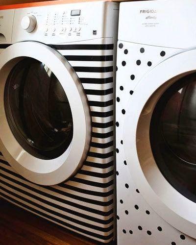 decorar lavadora e secadora Use contact , fita isolante, etiquetas de bolinhas ou algum adesivo.