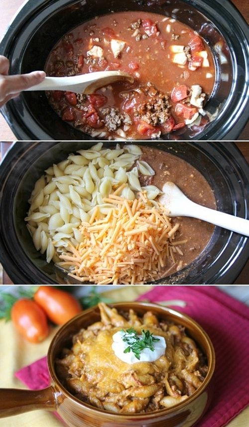 Easy Slow Cooker Taco Pasta - not totally a crock pot recipe, instructions say to cook meat and noodles separately