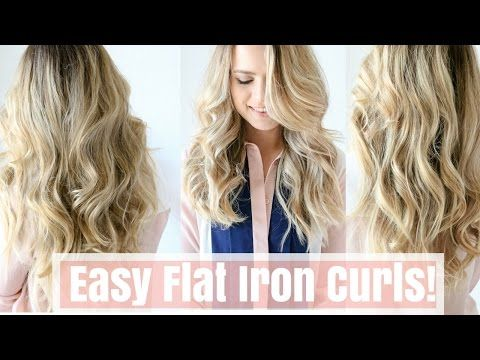 How to: Easy Flat Iron Curls (No Twisting!) - YouTube