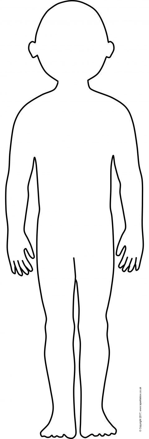 Ridiculous image inside human body outline printable