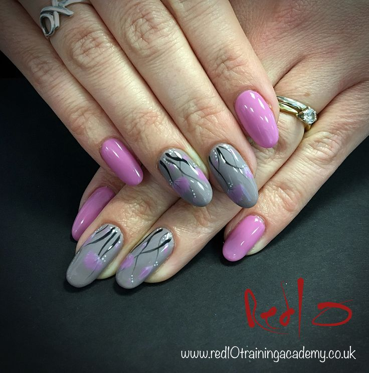 Gelish Design Nails, Grey Nails, Pink Nails, It's a Lily, From Rodeo to Rodeo Drive, Flower Nails, Floral Nails, Red10 Nail Bar & Training Academy