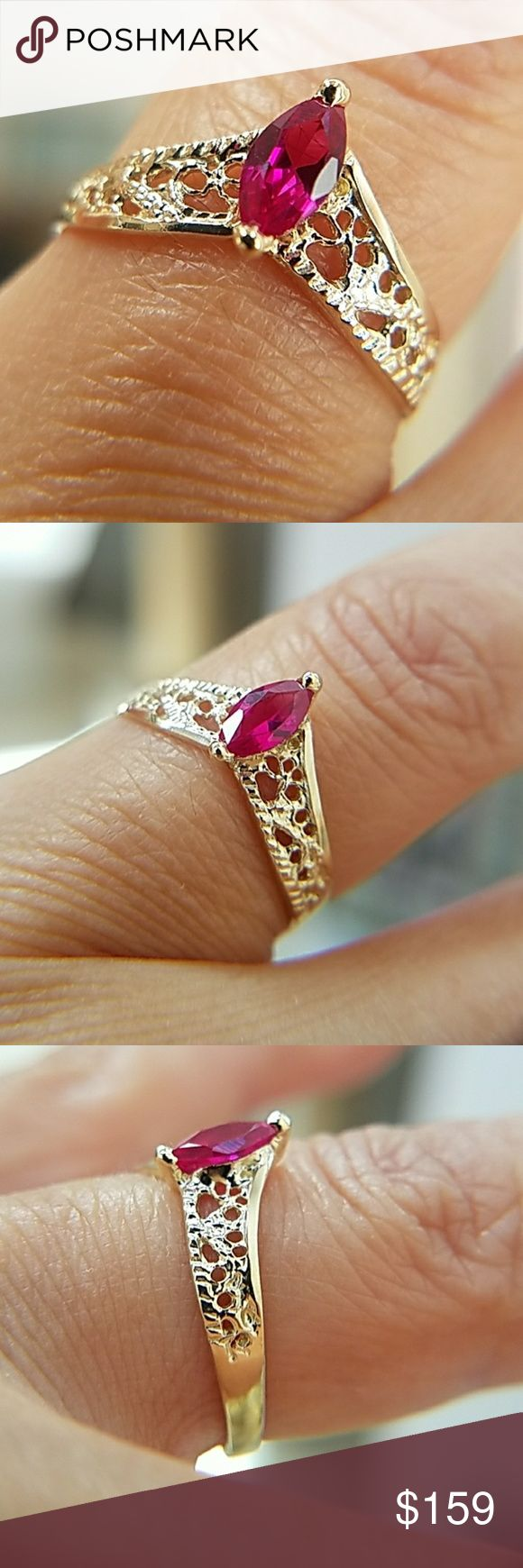 14k Yellow Gold Ruby Engagement Filigree Ring Dainty 14k Yellow hollow Gold Synthetic Ruby ladies  Engagement Promise Filigree Ring Available in sizes 3 4 5 6 7 8 9. Item#RG2208-1.37-42 Jewelry Rings
