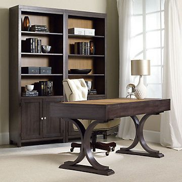 Home Office Set. South Park Two Tone Double Bookcase And Writing Desk Set ,