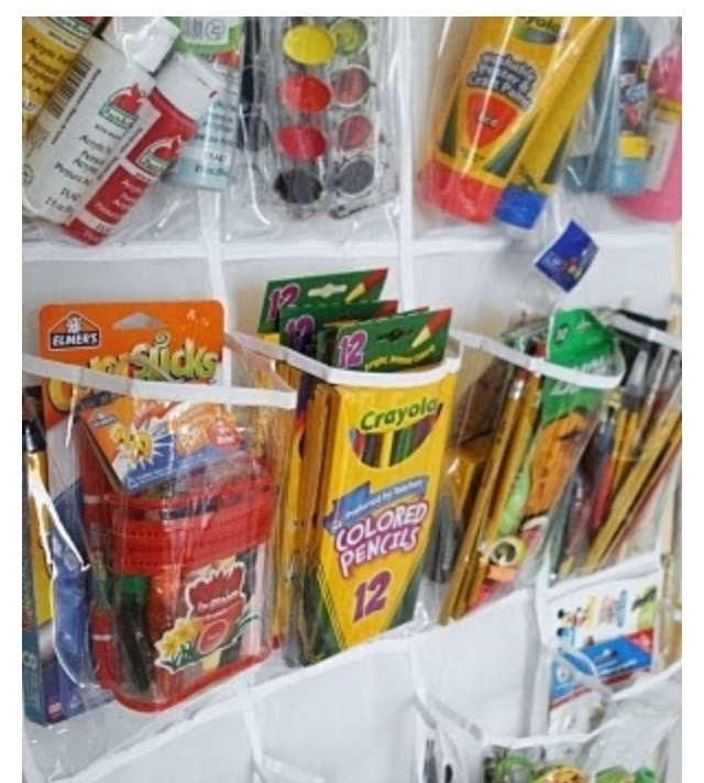 Think Outside The {toy} Box   Over 50 Organizational Tips For Kidsu0027 Spaces   Shoe Organizer On The Closet Door For Art Supplies And Craft Items.