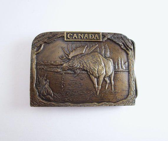 Moose Belt Buckle Vintage Canadian Moose Buckle by TREASUREandSUCH