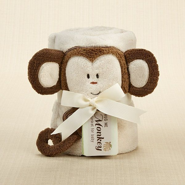 "BABY ASPEN ""Hug Me Monkey"" Plush Velour Baby Blanket 100% cotton #BabyAspen"