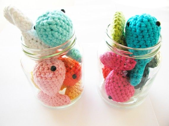 Crochet fishes in a bowl