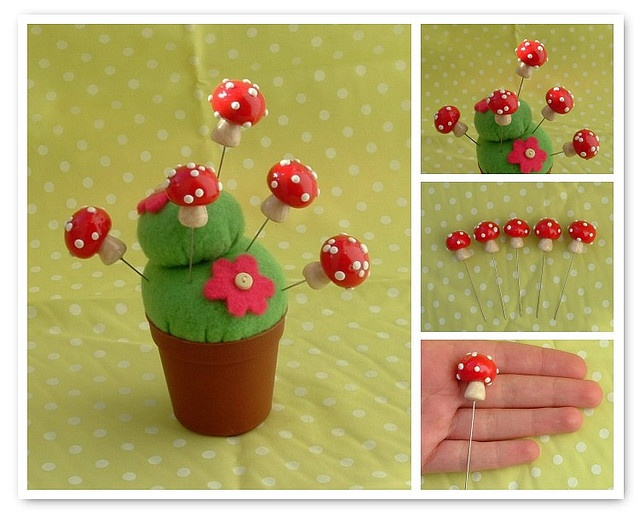 polymer clay mushroom sewing pins