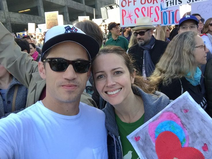 """James Carpinello - with Amy Acker, marching """"with Jack and Ava and a shit ton of other people"""""""