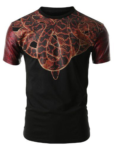 SMITHJAY Mens Hipster Hip-Hop Snake Neck Lace Print Tee with Snake Skin Sleeves