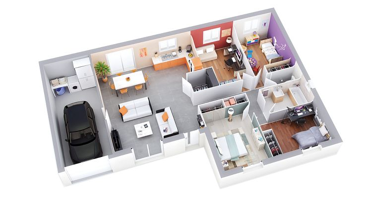 plan maison plain pied 3d gratuit plan Pinterest