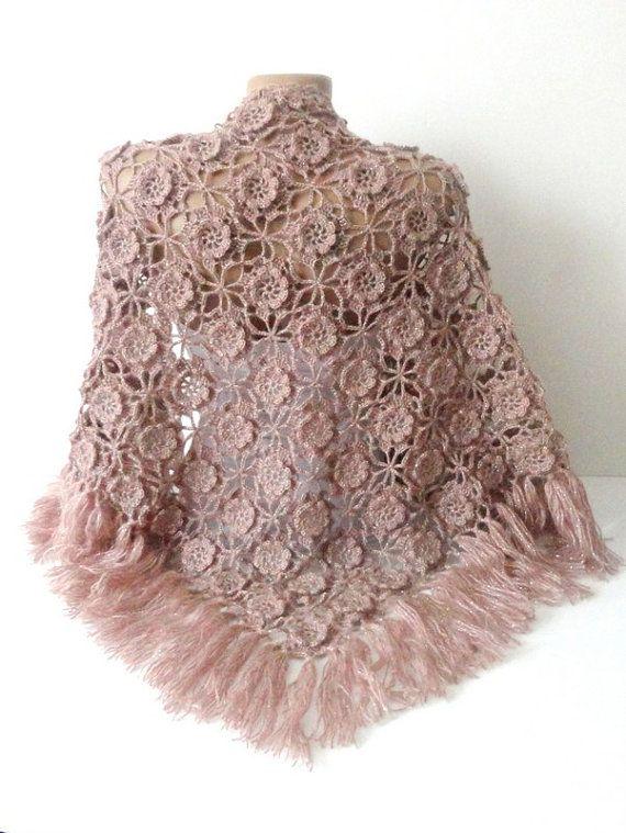 black friday sale Tea rose Crochet Shawl Scarf by senoAccessory