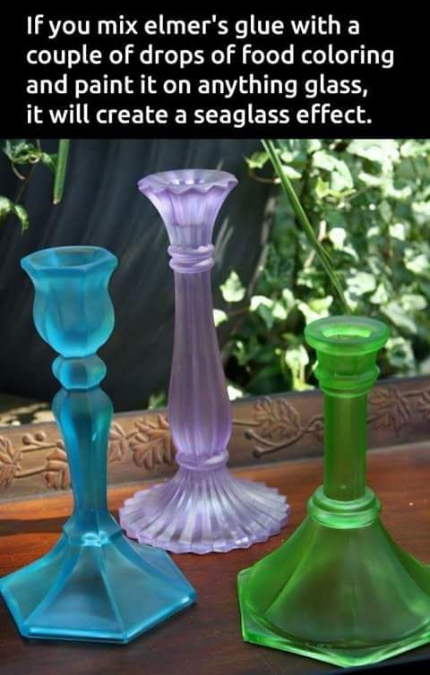 Mix elmer's glue with a couple of drops of food coloring and paint it on anything glass for seaglass effect