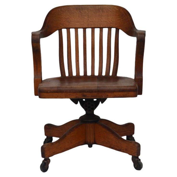 Impressive American Oak Swiveling Desk Chair