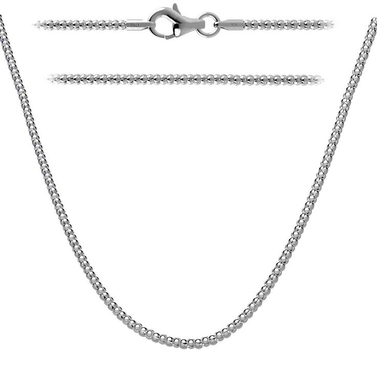 .925 Sterling Silver Popcorn Chain 1.6mm w/Lobster Clasp In 14 - 36 Inches #KEZEF #Chain