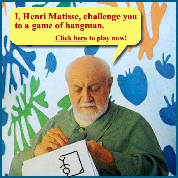 Online arts game for kids where you challenge Matisse to a game of hangman