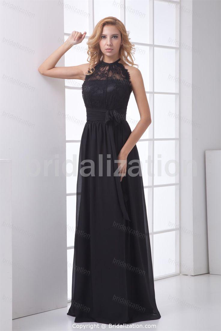 Black Ruffles Rehearsal Dinner Summer Floor-Length Evening Dress