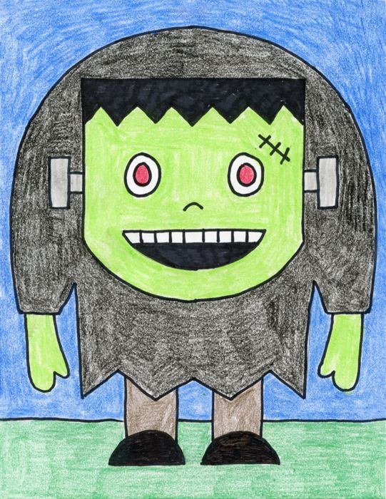 I created a How to Draw Frankenstein tutorial that targets 7 year-olds and up. The hair, screws and hunch back are all you need to know exactly who this is.