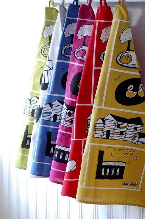 Kitchen towels with illustrations