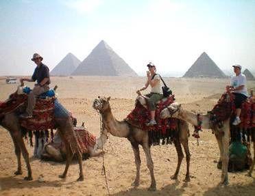 tando un camel en la zona de las piramides de Keops, Kefren y Mecerinos, saca fabulosos fotos ahi durante Egipto Vacaciones .