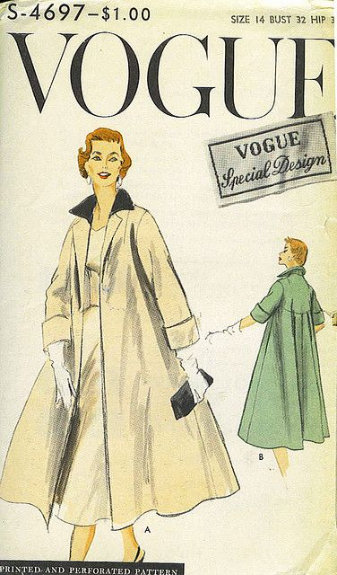 A sweepingly elegant 1950s Vogue pattern for swing coats. I remember when you bought a Vogue pattern they included a label to put in your finished garment.