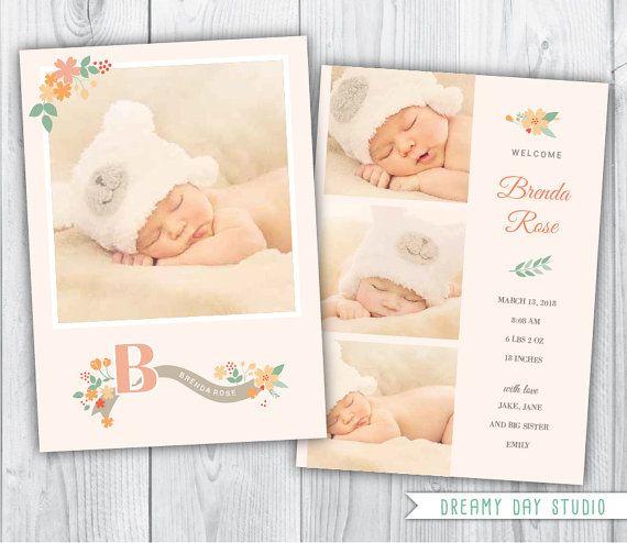 birth announcement / baby birth announcement / by dreamydaystudio