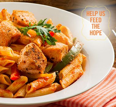 Zesty Lemon Creole Penne with Crispy Wild Salmon | For every Facebook share or download of our Pasta to the Rescue cookbook or its recipes, we're donating portions of pasta to food banks across Canada. Visit https://www.catelli.ca/en/feed-the-hope/ to learn more.