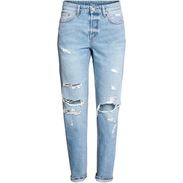 Boyfriend Low Ripped Jeans (650 ZAR) ❤ liked on Polyvore featuring jeans, pants, bottoms, blue, calça, denim jeans, blue jeans, distressed jeans, blue denim jeans and destructed boyfriend jeans