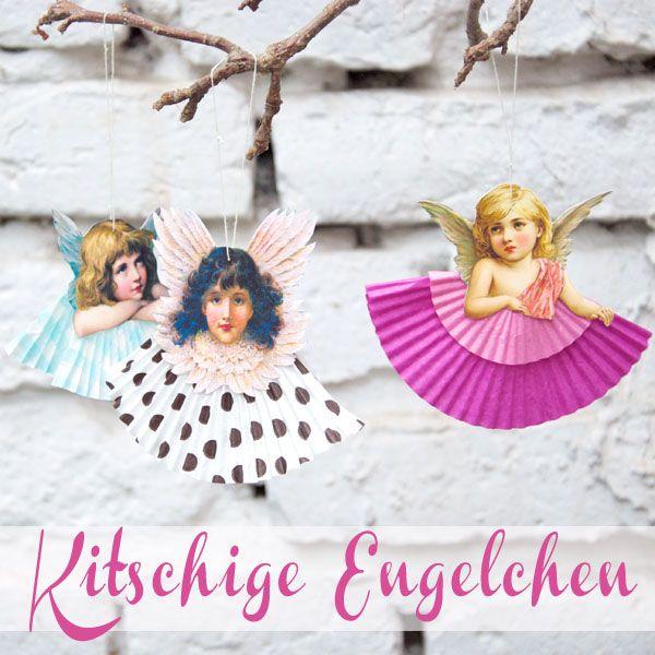 Kitschige Engelchen aus Glanzbildern und alten Muffinsförmchen / Corny angels made from whateveryoucallthem and muffin cases