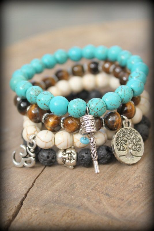 Elastic Yoga beaded stackable stretch bracelet Spirtual Hindu Ethnic Bohemian free people style Om buddha Tree of life Prayer wheel charms. Shanda make me this!!! Or 10 :). Tell me what to pick up and send you. I want them stretchy.