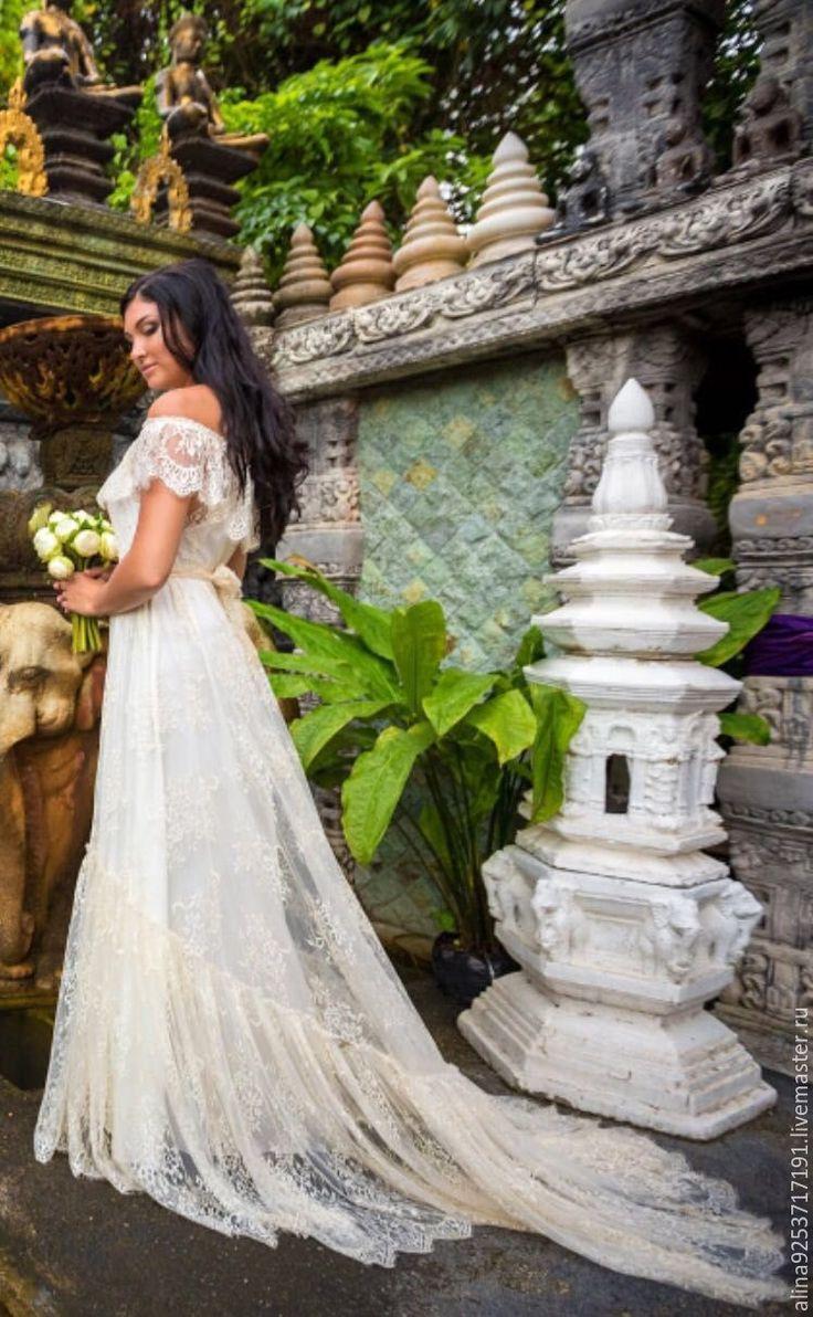 Купить Кружевное свадебное платье бохо - белый, кружевное платье, свадебное платье, кружево, хлопок