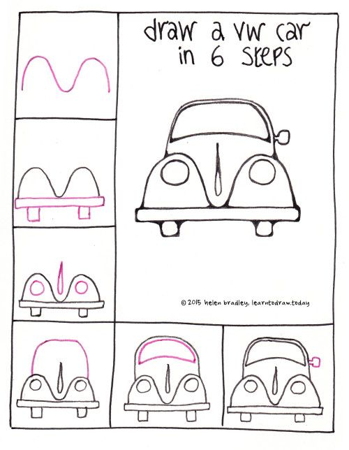 Draw a VW Beetle Car in 6 steps : Learn To Draw
