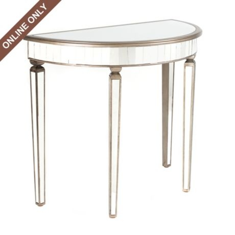 Wood Amp Glass Mirrored Demilune Table Wood Glass Foyers