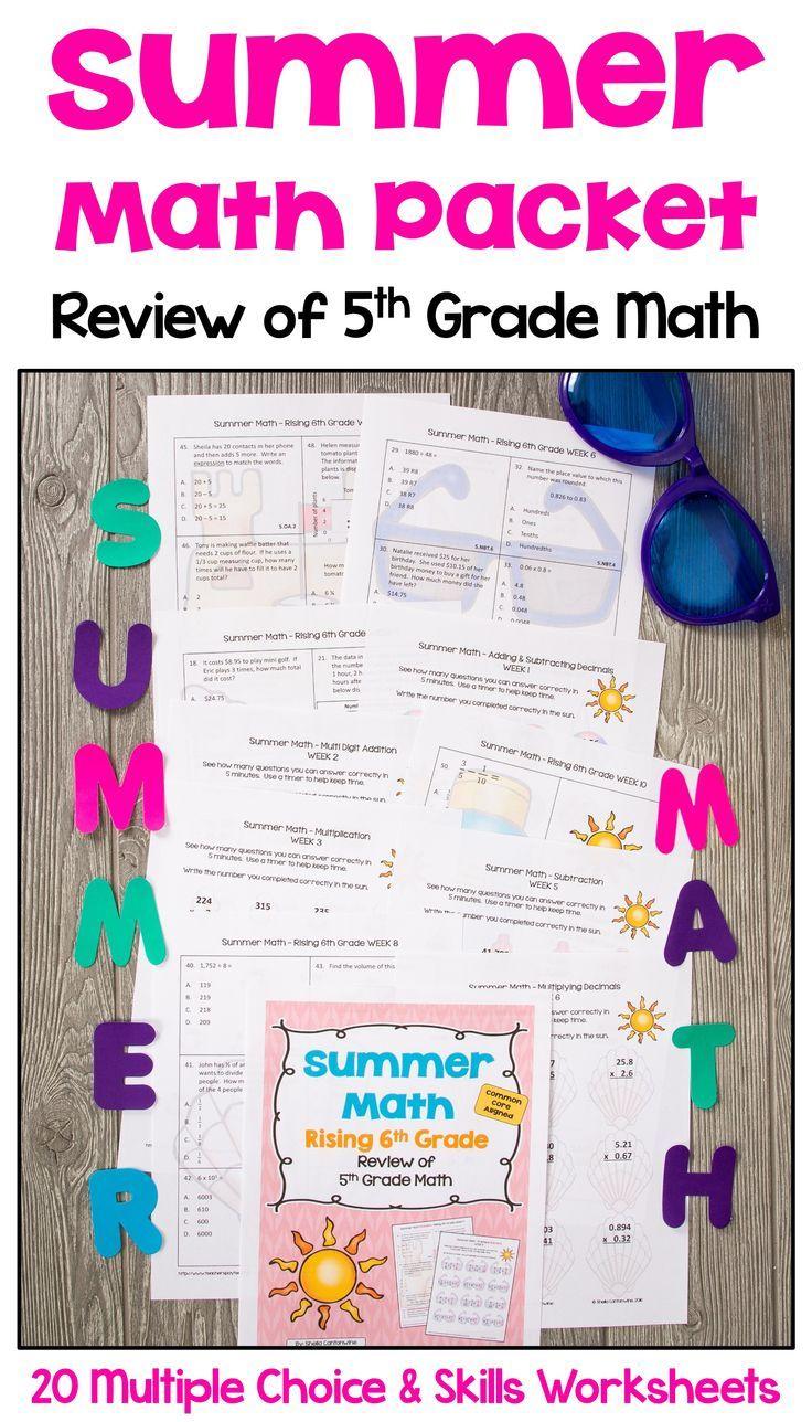 Summer Math Packet For Rising 6th Graders Review Of 5th Grade Math Summer Math Summer Math Packet 5th Grade Math [ 1288 x 736 Pixel ]