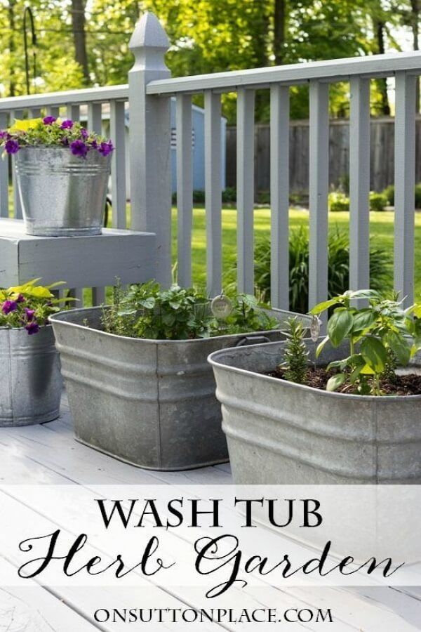 Best 25 galvanized planters ideas only on pinterest for Tin tub planters