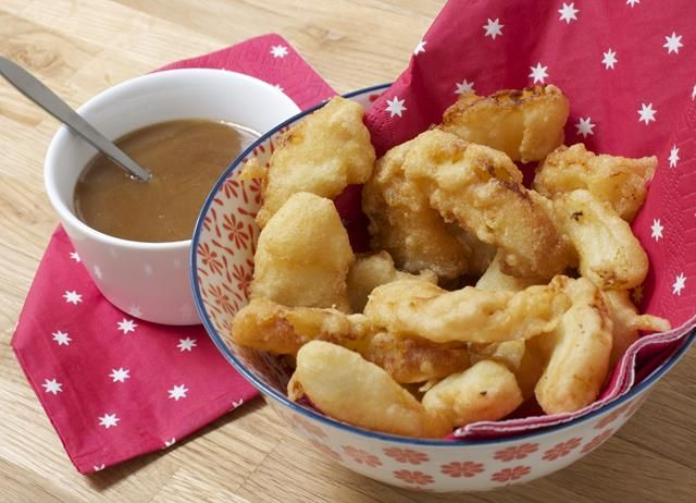 Pineapple fritters with spicy toffee sauce recipe - Great British Chefs