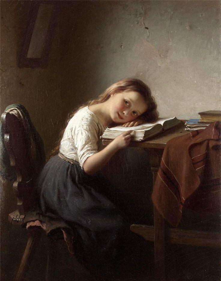 The Little Scholar (1865). Johann Georg Meyer von Bremen (German 1813-1886). Oil on canvas. Genre painter, pupil of Düsseldorf A...: