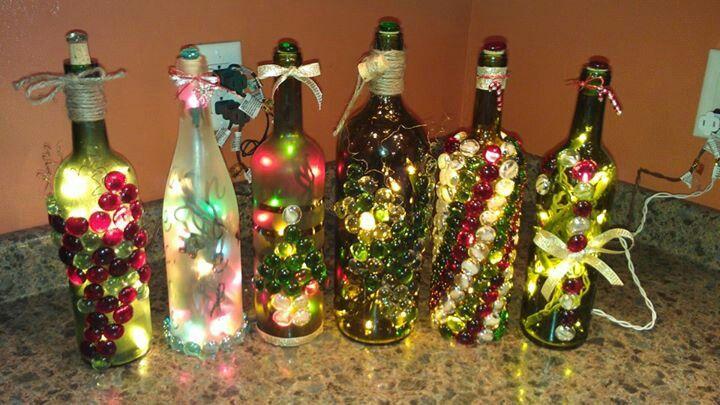 More lighted wine bottles