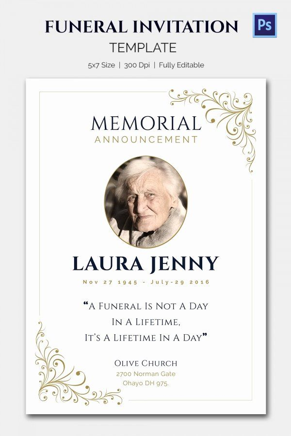 Classic Funeral Invitation Template Funeral Invitation Invitation Template Graduation Invitations Template