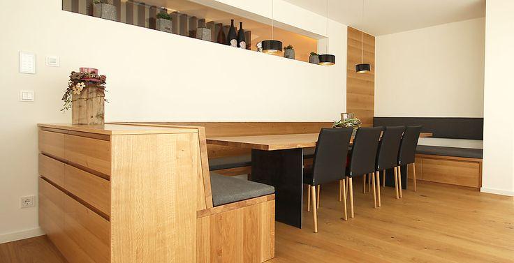 Eckbank aus Holz mit Leder, Tisch aus Eiche mit Stahl Tisch und - team 7 küche gebraucht