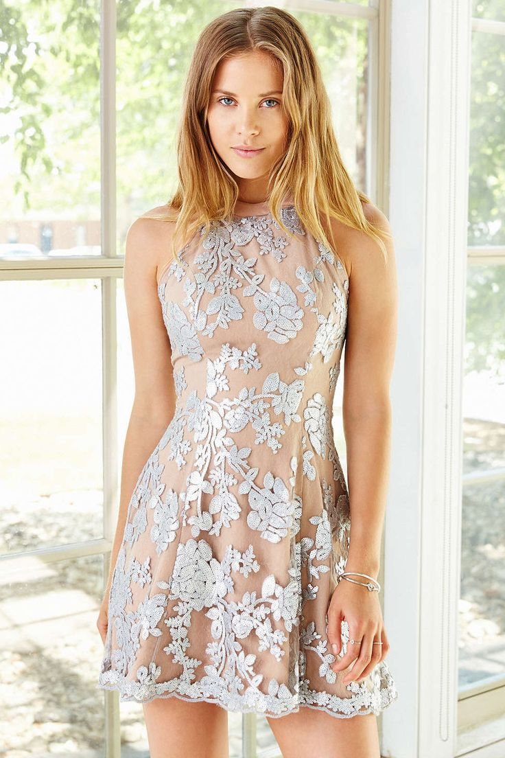 Dress The Population Abbie Embroidered Mesh Dress - Urban Outfitters
