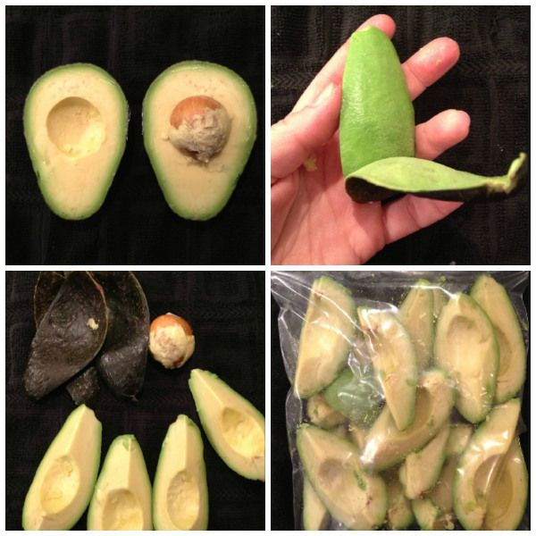 HOW TO FREEZE AVOCADOS~~Slice an avocado into quarters and take out the pit. Peel off the outer layer. Stack into a plastic freezer bag and into the freezer they go. It's just that easy.