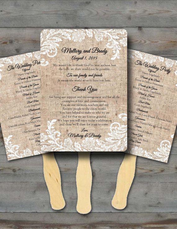Custom Rustic Wedding Programs/Wedding Fan Program/Fan wedding program/wedding program fan/program fans/ Fully assembled Wedding Fan favors