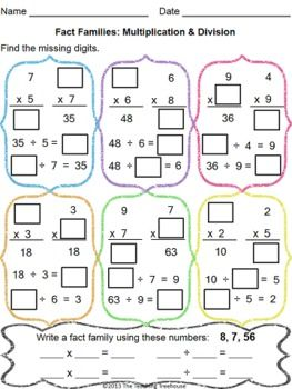 Freebie! Fact family practice, multiplication facts and quotients to 9. Answer key provided.