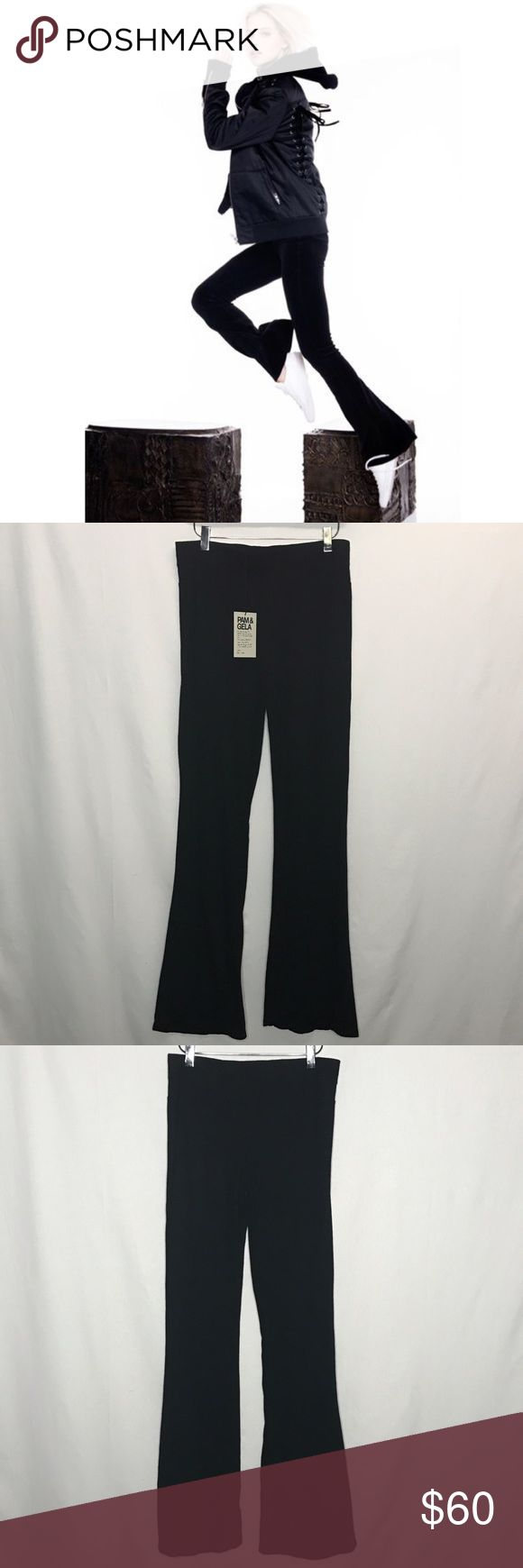"""Pam & Gela Flip Flop Flare Pants Cute and comfy Pam & Gela cotton lounge pants. Wear them out and about with wedge heels, clogs or sandals or wear them around the house.  Elastic waist and flare bottom. Inseam 33"""" Pam & Gela Pants Boot Cut & Flare"""