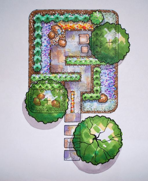 colored prayer garden plan