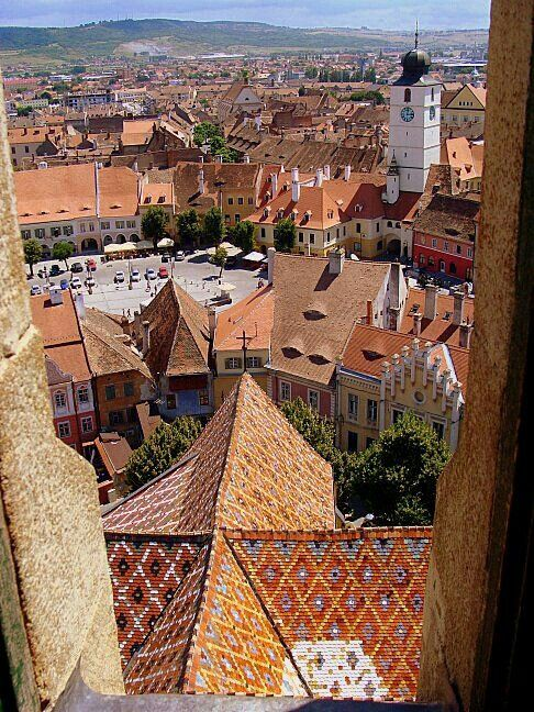Sibiu viewed from the top, Transilvania, Romania