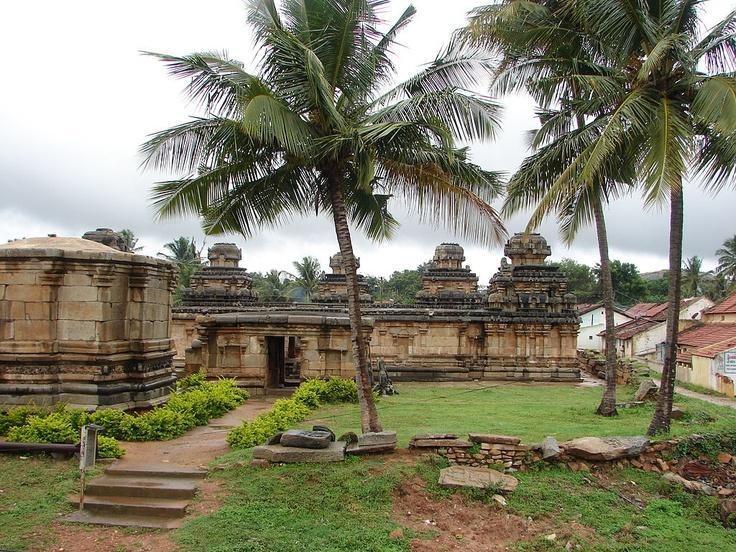Panchakuta Basadi at Kambadahalli, Mandya district, Karnataka state, India. Kambadahalli is a village in Mandya district of Karnataka state, in south-western India. Previously known as Kambapuri, it is one of the oldest and most important Jain religious centers in Karnataka. The monuments here were built by the Western Ganga Dynasty in the 9th - 10th century. The name Kambadahalli in the Kannada language literally means village (halli) of the pillar (Kamba).